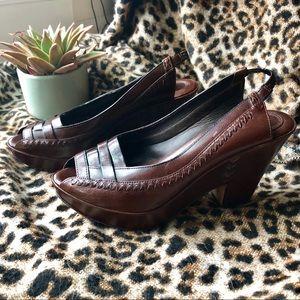 Frye Sling Back Peep Toe Brown Leather Wedges